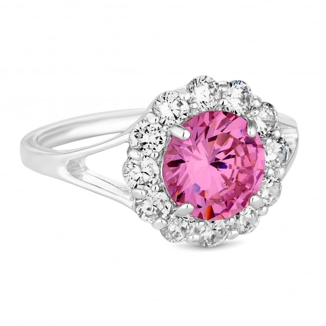 Silver Plated Pink Cubic Zirconia Halo Ring