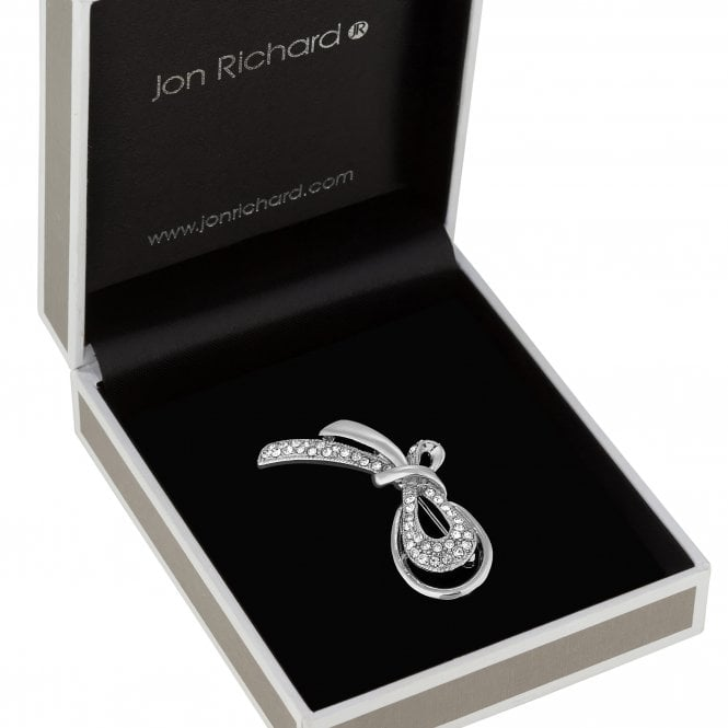 Silver Plated Polished And Pave Infinity Ribbon Brooch