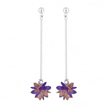 Silver Plated Purple Crystal Shard Flower Chain Drop Earring