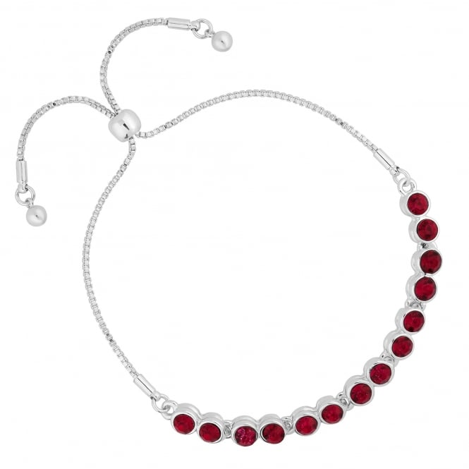 Silver Plated Red Crystal Toggle Bracelet
