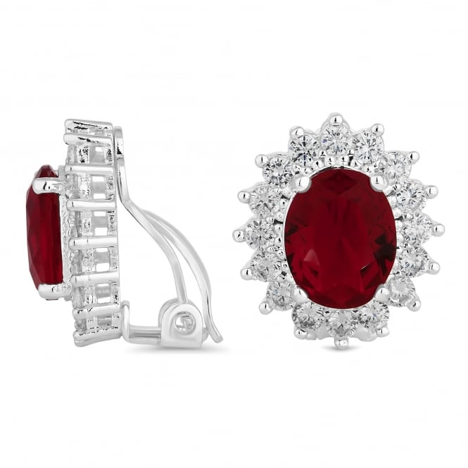 Silver Plated Red Cubic Zirconia Clip On Stud Earring