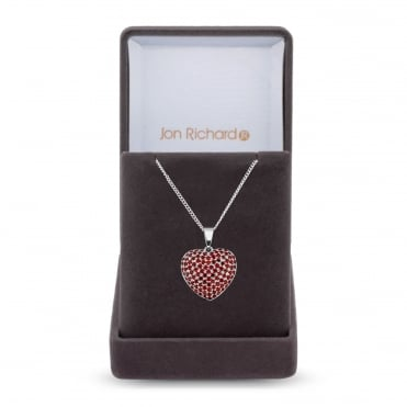 Silver Plated Red Cubic Zirconia Pave Heart Necklace In A Gift Box