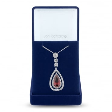 Silver Plated Red Cubic Zirconia Peardrop Necklace In A Gift Box