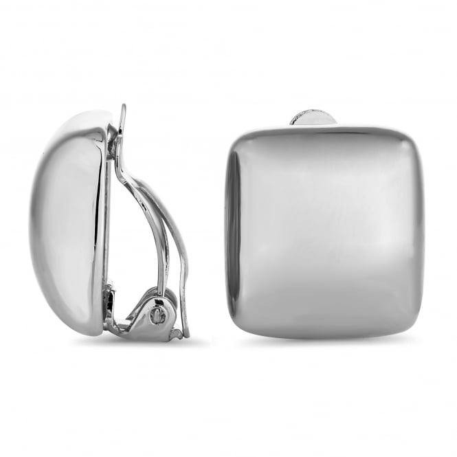Jon Richard Silver Plated Square Clip On Stud Earring