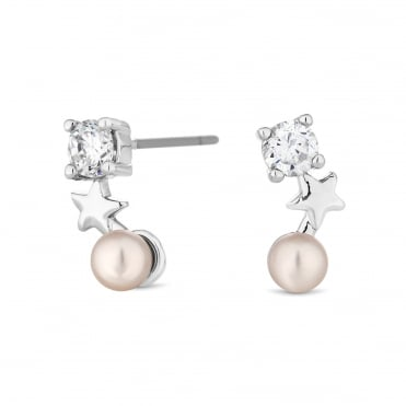 Silver Plated Star And Pearl Earring