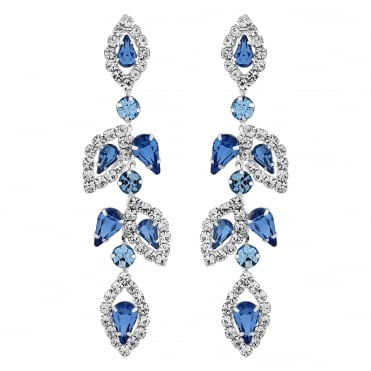 Silver Plated Tonal Blue Floral Drop Earring