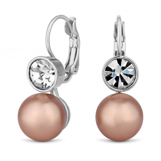 Jon Richard Silver Plated Tonal Pink Pearl And Crystal Drop Earring