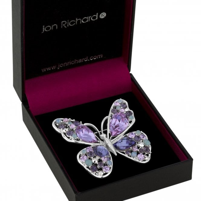 Silver Purple Crystal Butterfly Brooch