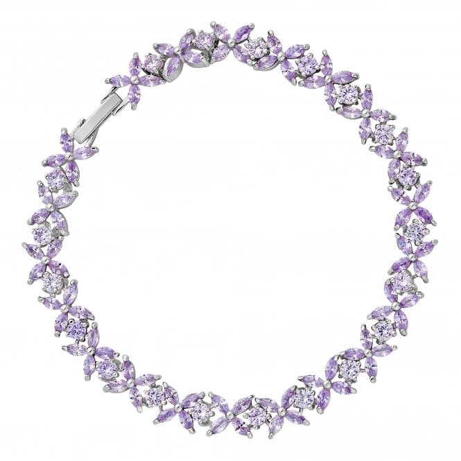 Silver Purple Crystal Flower Bracelet