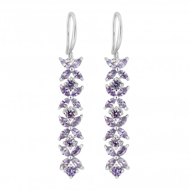 Silver Purple Crystal Flower Drop Earring