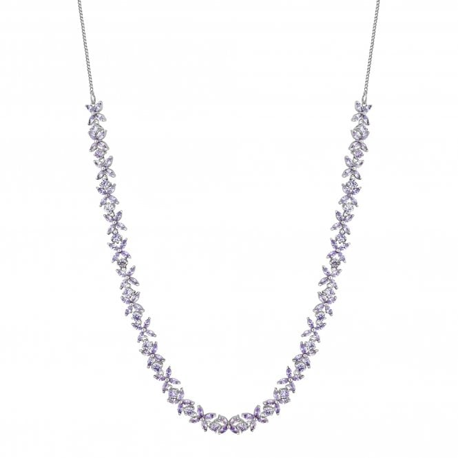 Silver Purple Crystal Flower Necklace