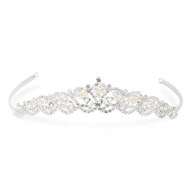 Silver Raised Diamante Pearl Tiara