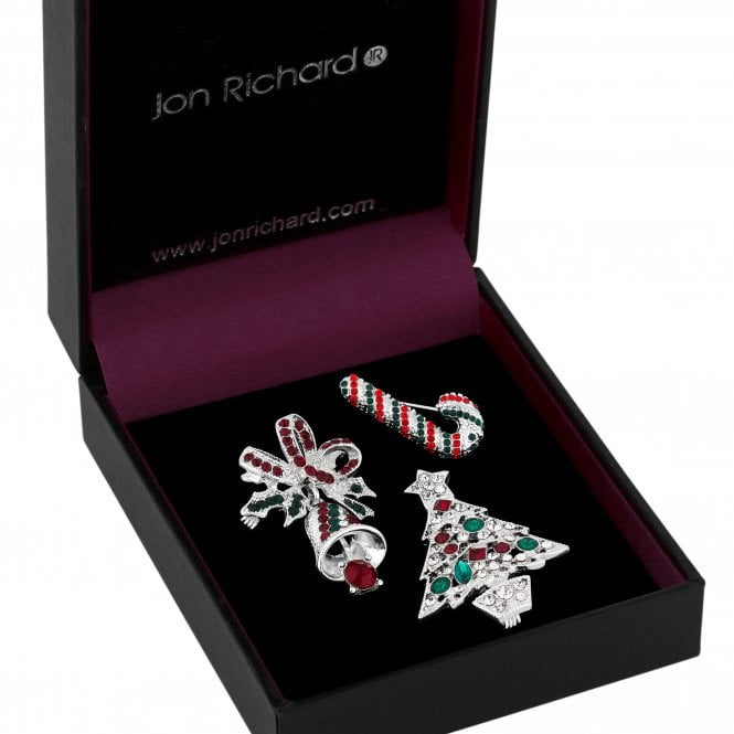 Silver Red And Green Crystal Christmas Brooch Set