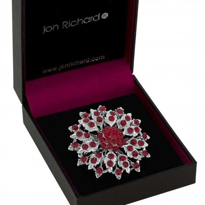 Silver Red Crystal Flower Brooch