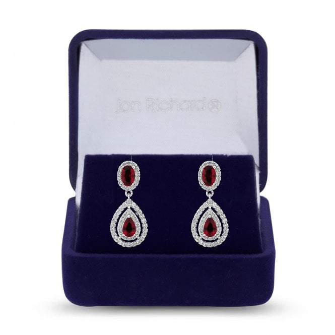 Silver Red Cubic Zirconia Peardrop Drop Earring
