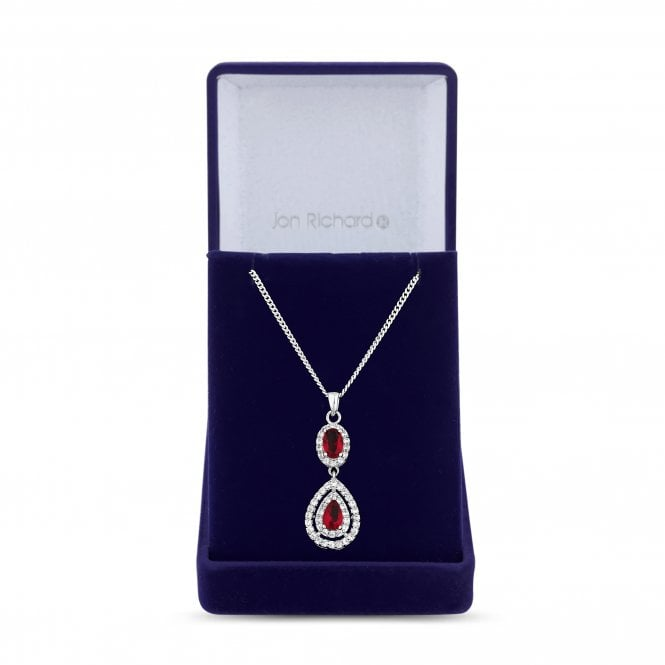 Silver Red Cubic Zirconia Peardrop Pendant Necklace