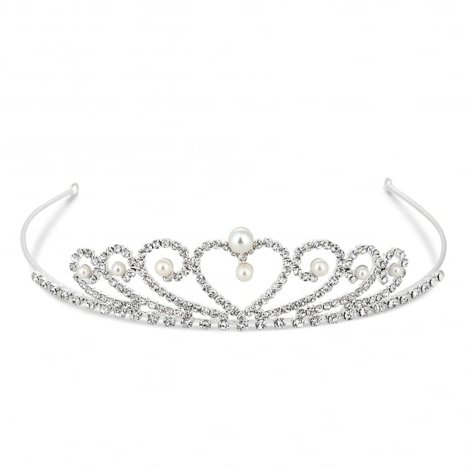 Silver Small Pearl And Crystal Heart Tiara
