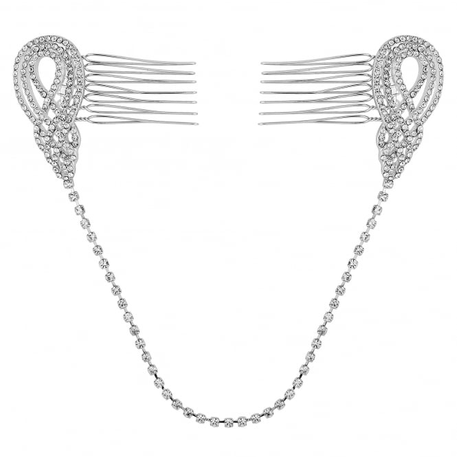 Silver swirl double hair comb