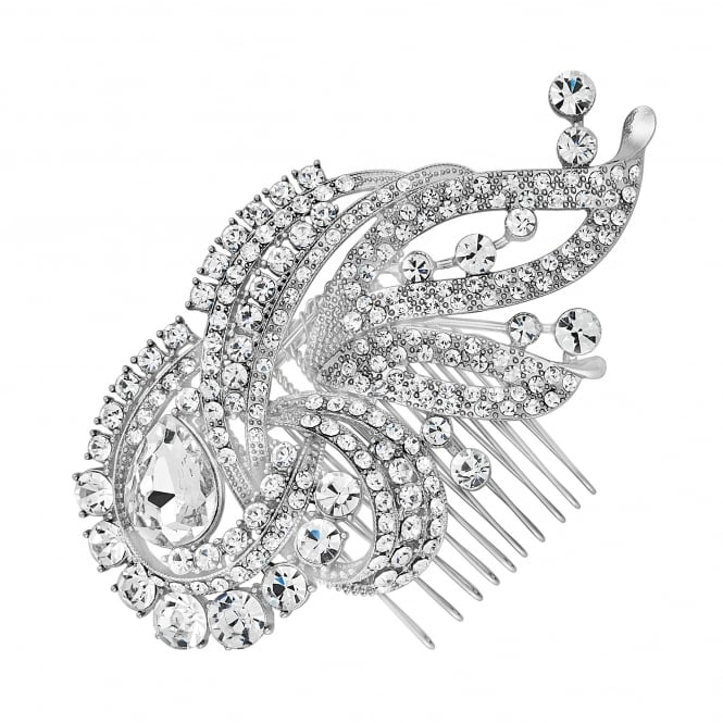 Silver swirl statement hair comb