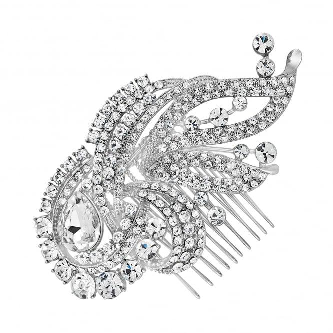 Silver swirl statement hair comb