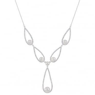Silver teardrop pearl necklace
