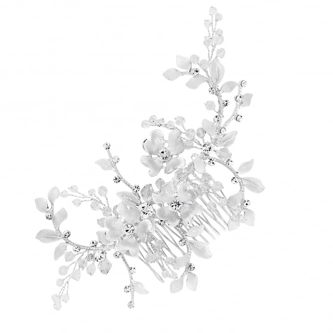 Silver Textured Leaf Beaded Hair Comb