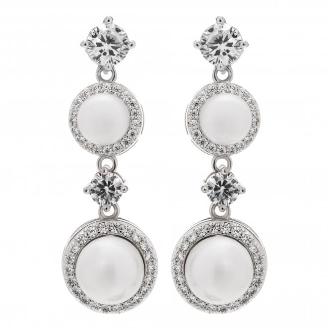 Image of Sivler Plated Pearl Halo Earrings