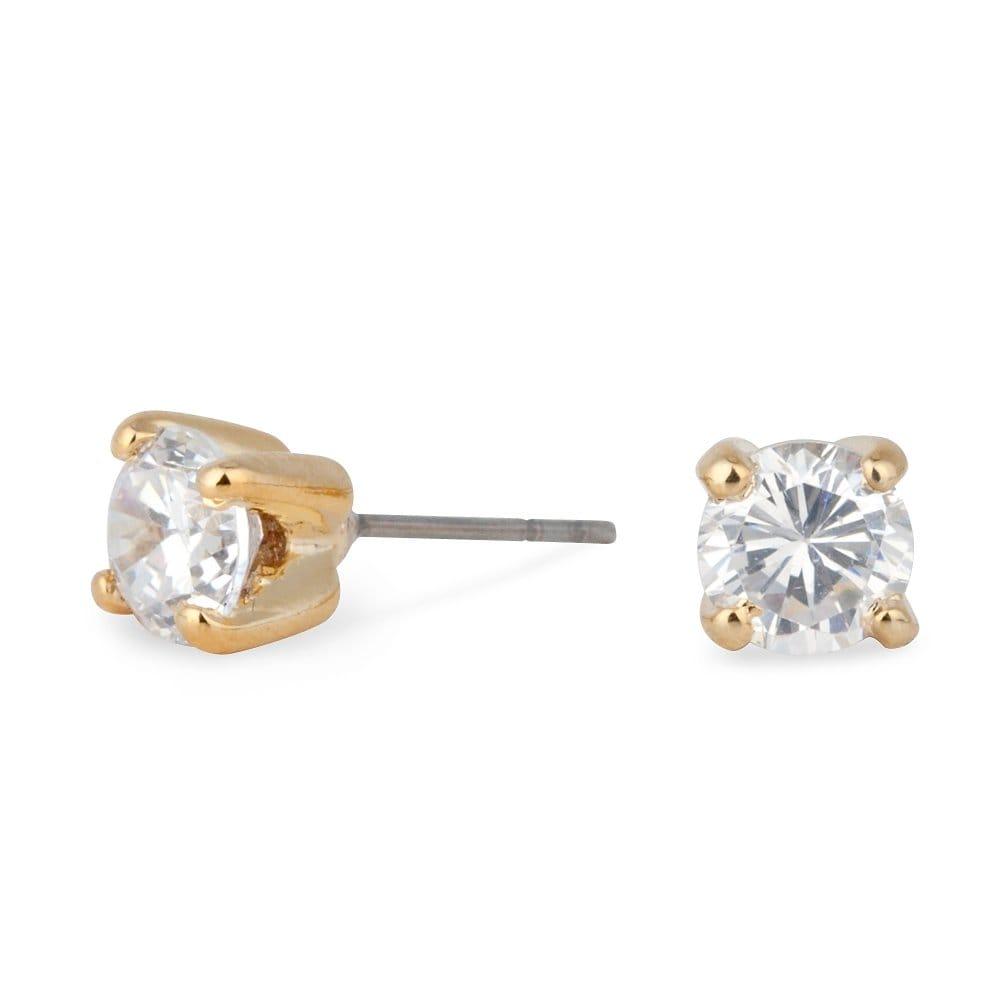 Jon Richard Sparkling Small Cubic Zirconia Round Gold Stud Earring ...