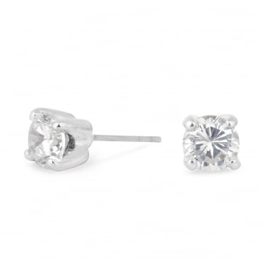 Sparkling Small Cubic Zirconia Round Stud Earring