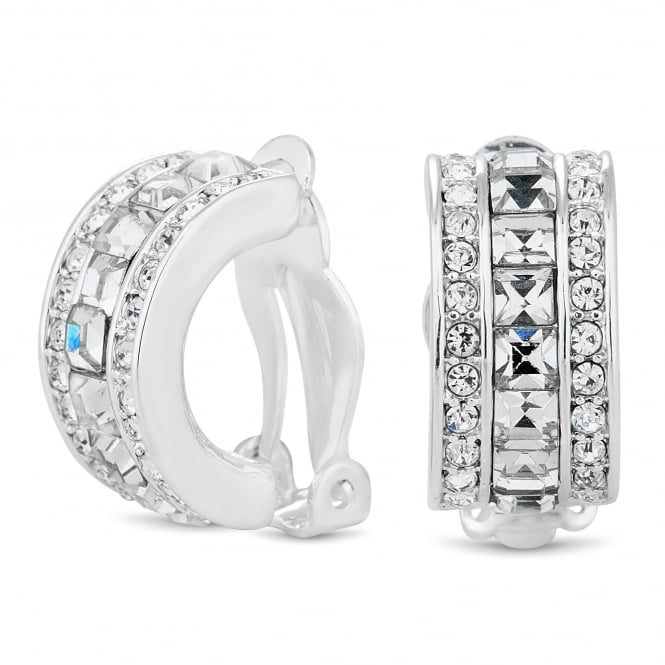 Jon Richard Square crystal half hoop clip on earring