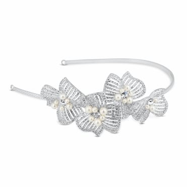 Statement 3-d pearl and diamante flower headband