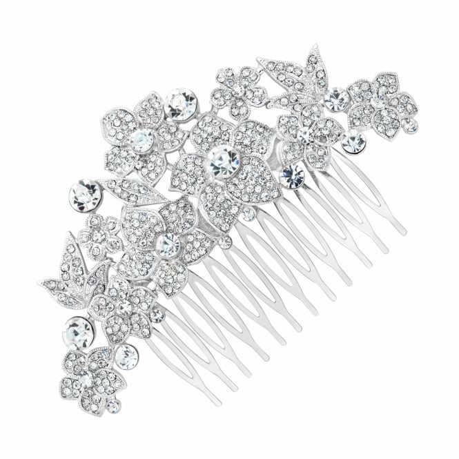 Statement pave crystal floral hair comb
