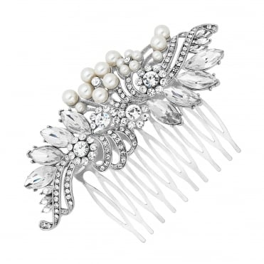 Statement pearl and navette swirl hair comb
