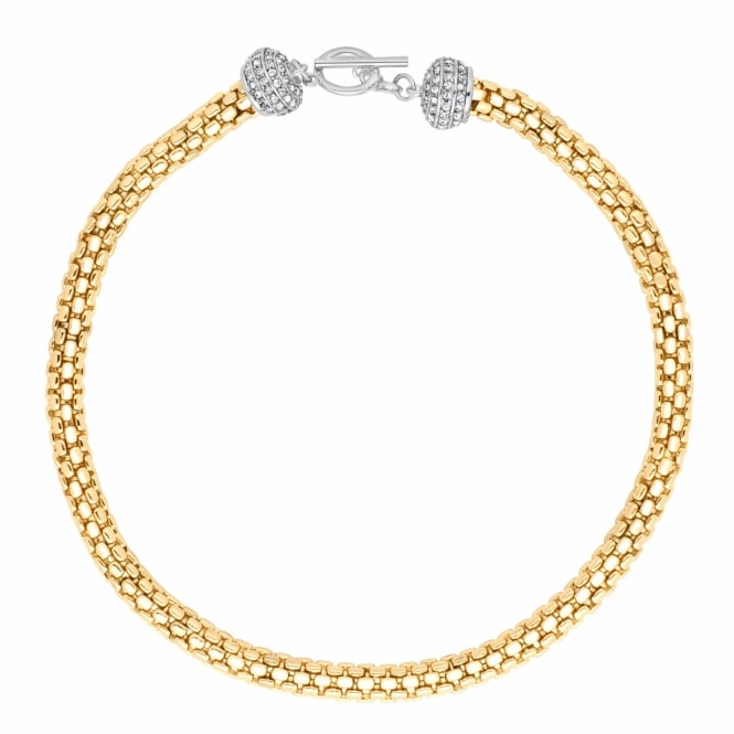 Jon Richard Statement two tone crystal t-bar necklace