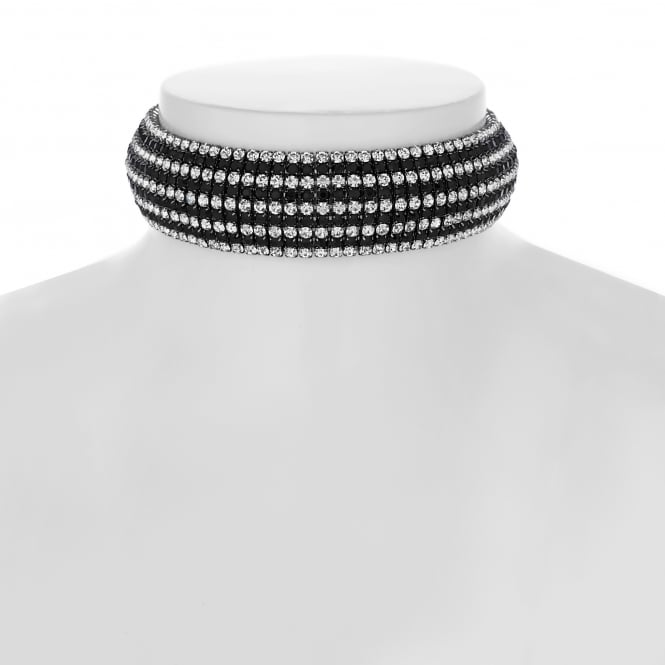 Stripe diamante choker necklace