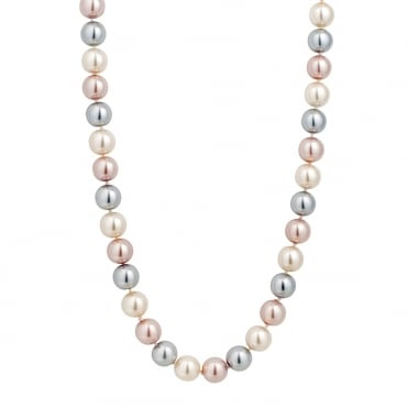 Triple tone magnetic pink pearl necklace