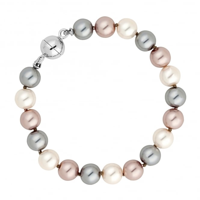 Jon Richard Triple tone pearl chain magnetic bracelet
