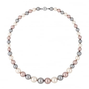 Triple tone pearl chain magnetic necklace