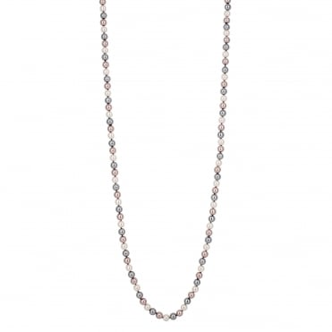 Triple tone pearl chain necklace