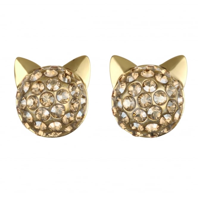 Gold Pave Choupette Cat Stud Earring Created With Swarovski Crystals