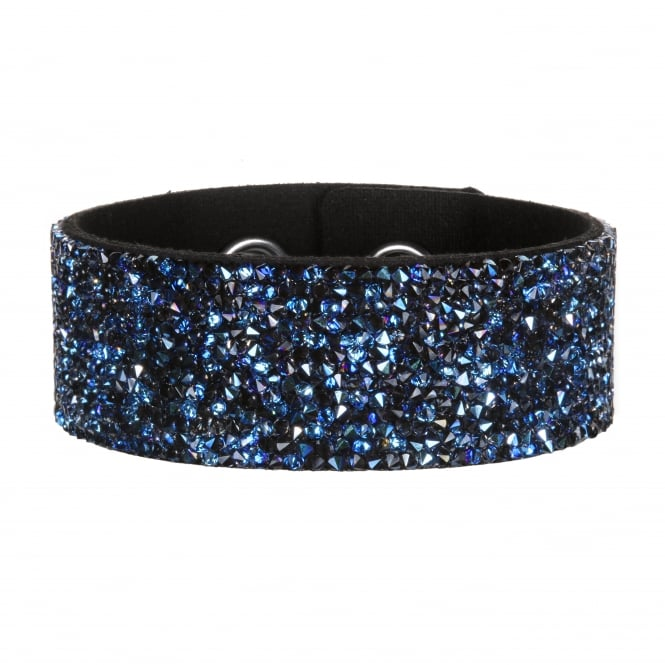 Crystal cluster suede cuff bracelet created with Swarovski crystals