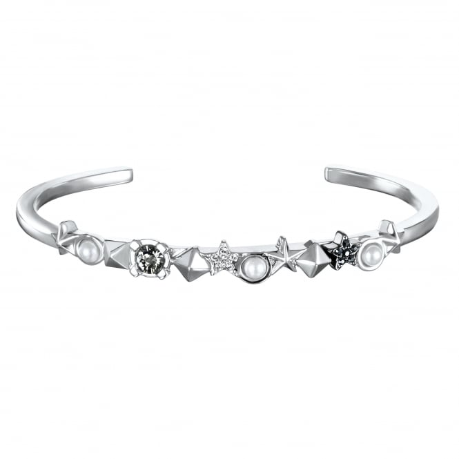 Silver Star And Stud Bar Cuff Bracelet Created With Swarovski Crystals