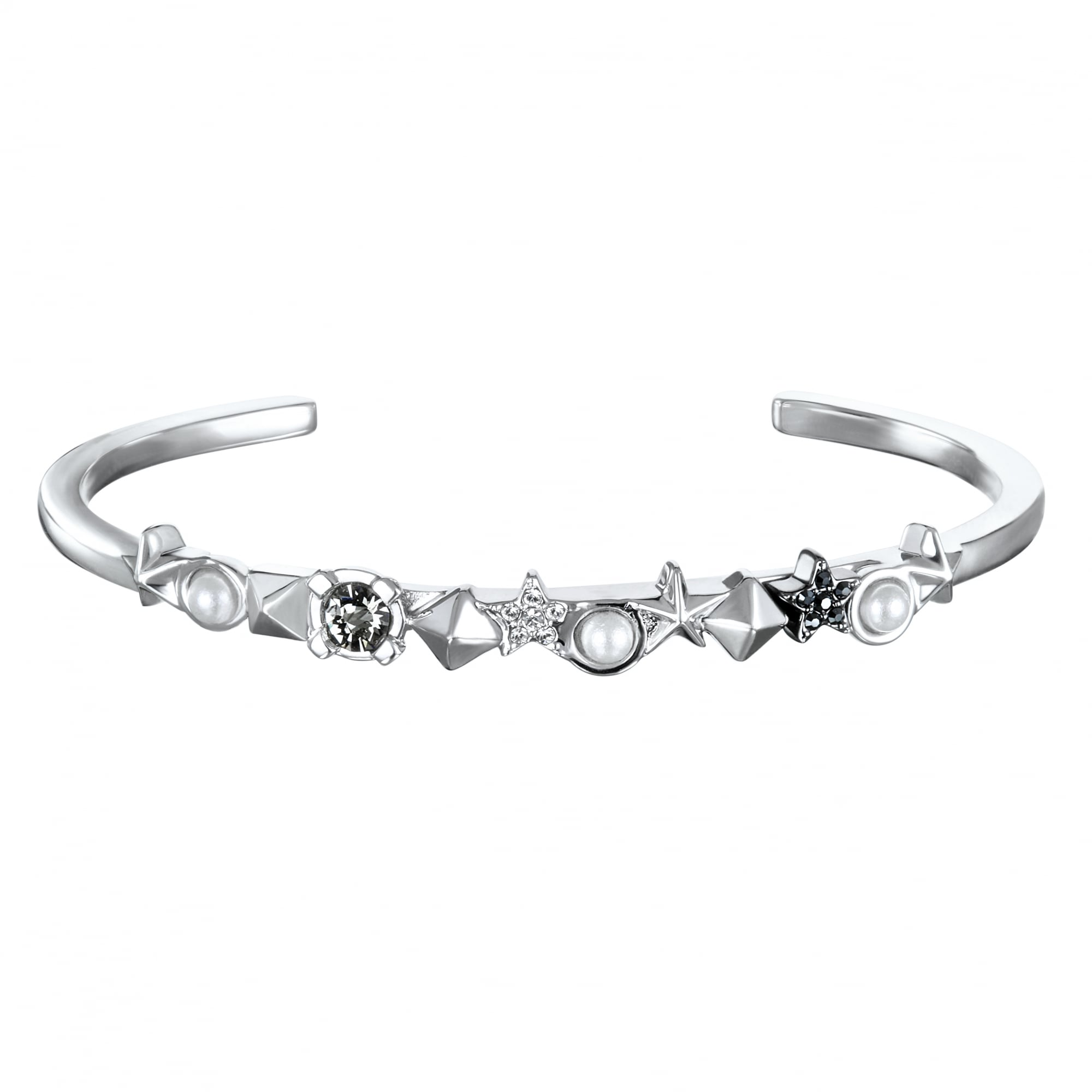 Karl Lagerfeld Silver Star And Stud Bar Cuff Bracelet Created With Swarovski Crystals