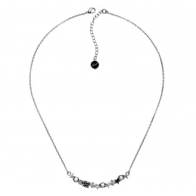 Silver Star And Stud Bar Necklace Created With Swarovski Crystals