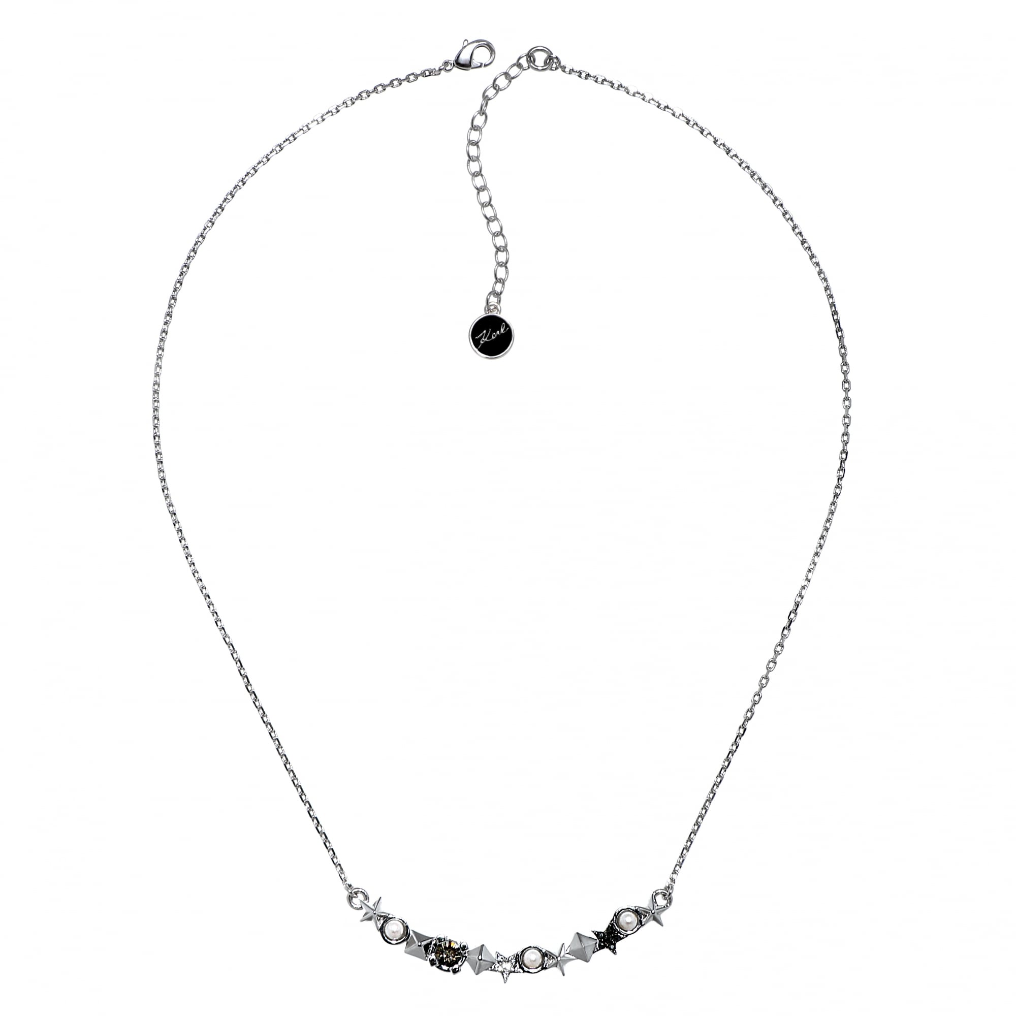 Karl Lagerfeld Silver Star And Stud Bar Necklace Created With Swarovski Crystals