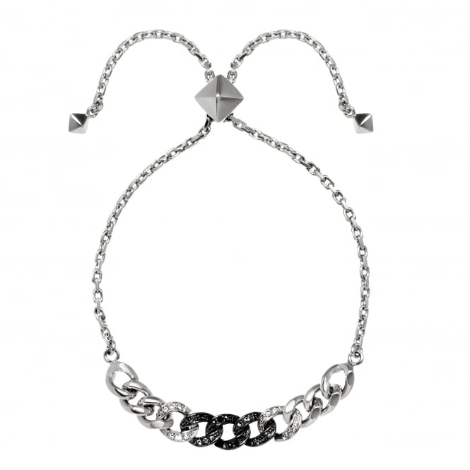 Silver And Black Ombre Chain Bracelet Created With Swarovski Crystals