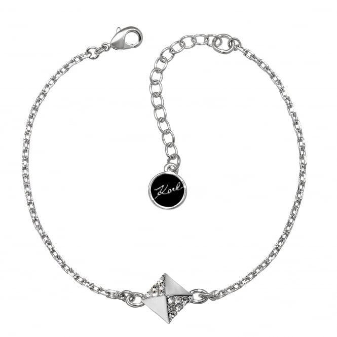 Karl Lagerfeld Silver Pave Pyramid Bracelet Created With Swarovski® Crystals