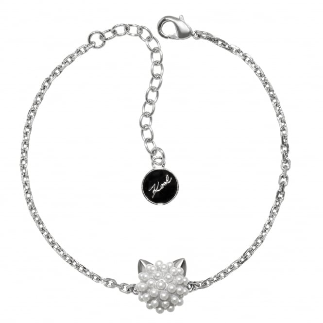 Silver Pearl Choupette Cat Bracelet Created With Swarovski Crystals