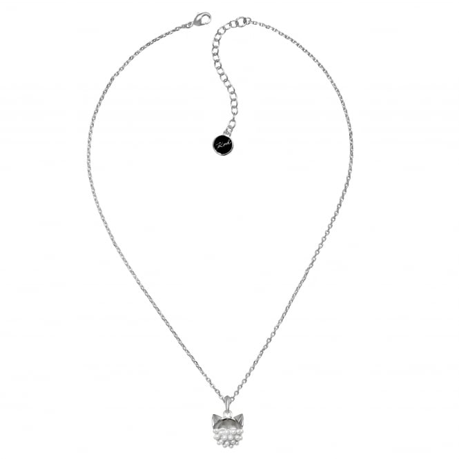 Silver Pearl Choupette Cat Necklace Created With Swarovski Crystals