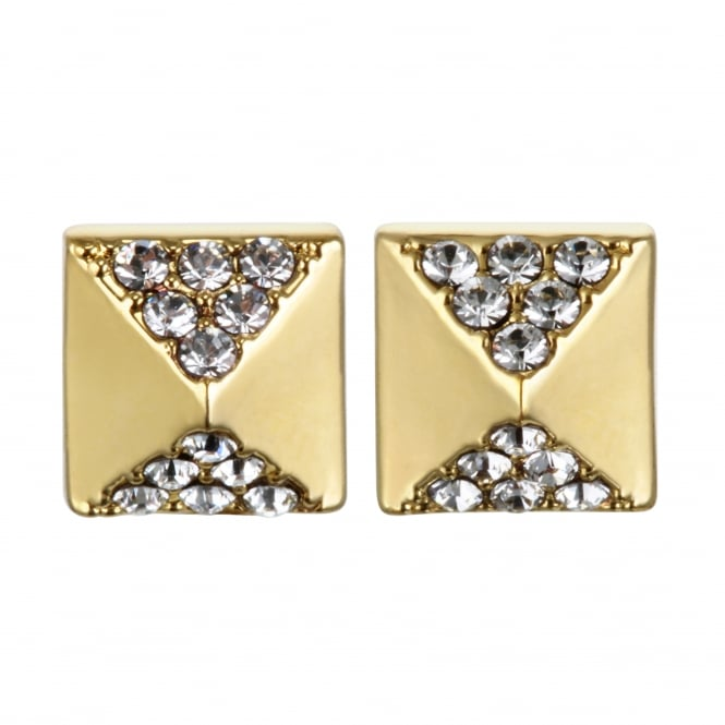 Pyramid stud earring created with Swarovski crystals